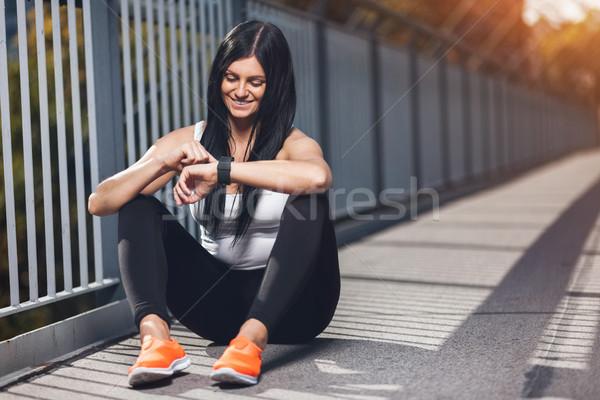 Zdjęcia stock: Miasta · treningu · piękna · kobieta · szkolenia · miejskich · piękna