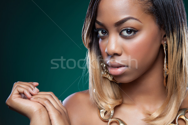 Attractive black woman Stock photo © tommyandone