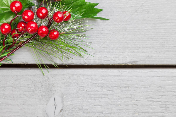 Christmas decoration of holly springs  Stock photo © tommyandone