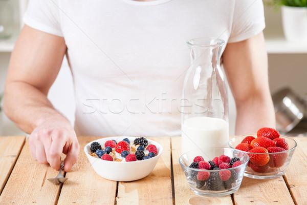Egészséges tápláló joghurt gabonapehely friss nyers Stock fotó © tommyandone