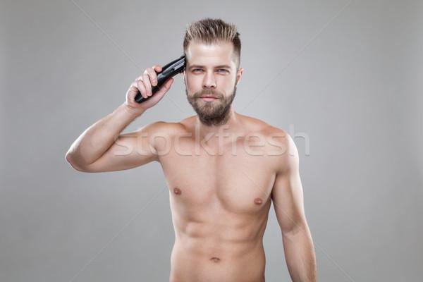 Homem bonito próprio cabelo bonito barbudo Foto stock © tommyandone