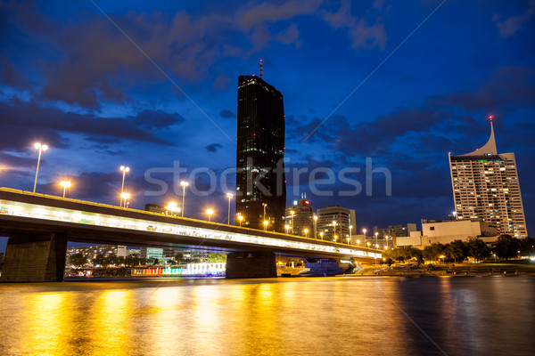 Vienna skyline on the Danube river at night Stock photo © tommyandone