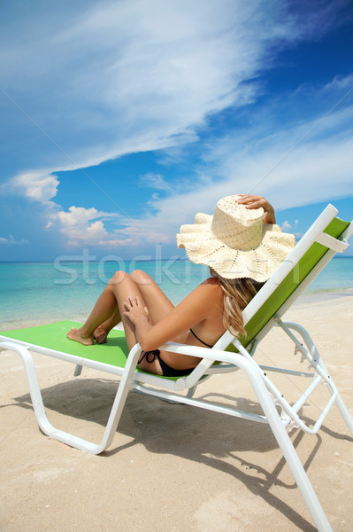 Woman relaxing on a beach Stock photo © tommyandone