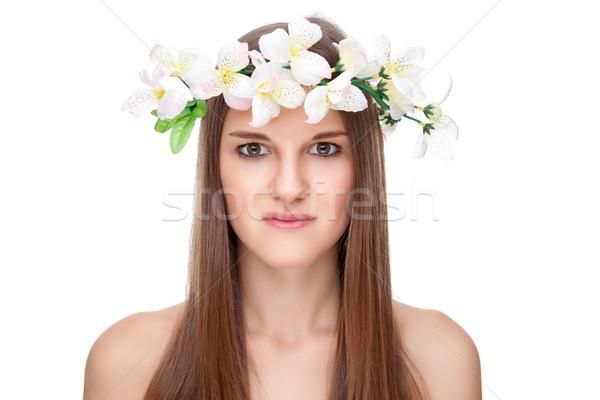 Mooie brunette lang steil haar jonge natuur Stockfoto © tommyandone
