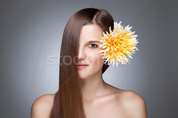 Foto stock: Belo · morena · longo · cabelos · lisos · jovem · cabelo