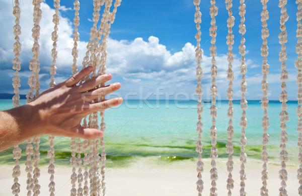 рай пляж морем оболочки занавес человека Сток-фото © tommyandone