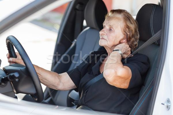 Elderly woman behind the steering wheel Stock photo © tommyandone