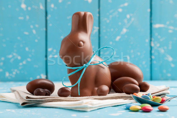 Delicious chocolate Easter bunny, eggs and sweets  Stock photo © tommyandone