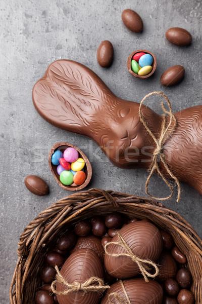 Foto stock: Chocolate · coelhinho · da · páscoa · ovos · delicioso · páscoa