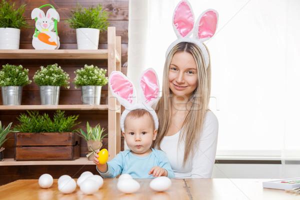 Stok fotoğraf: Mutlu · anne · sevimli · çocuk · tavşan