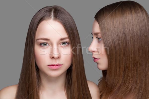 Tweelingen perfect huid lang steil haar portret Stockfoto © tommyandone