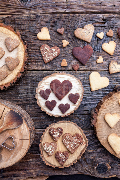 Stock photo: Delicious heart shaped cookies baked with love