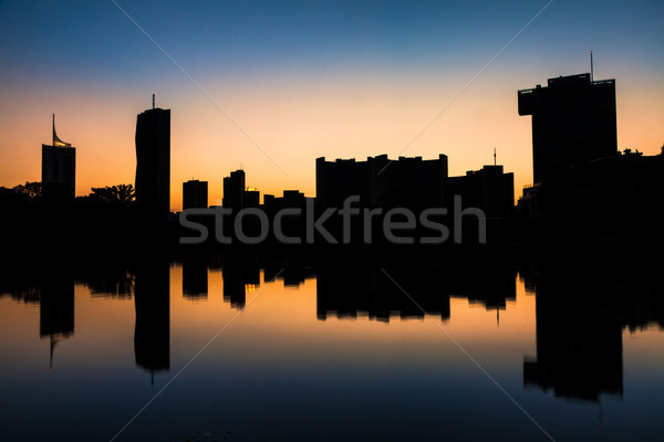 Silhouette of Vienna skyline on the Danube river Stock photo © tommyandone