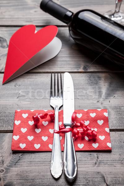 Romantische diner ingesteld houten rustiek voedsel Stockfoto © tommyandone