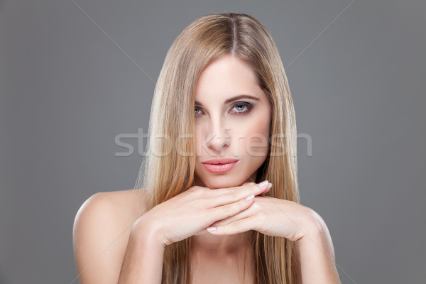 Foto stock: Jovem · beleza · cabelos · lisos · retrato · moda