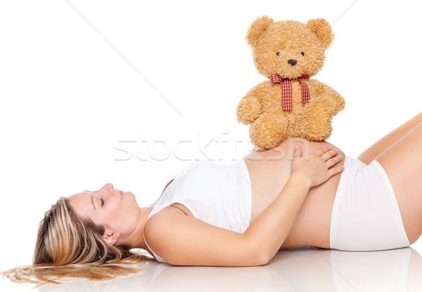 Foto d'archivio: Donna · incinta · cute · orsacchiotto · seduta · pancia · donna