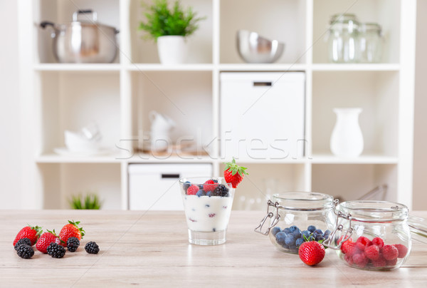Delicious and healthy yoghurt with fresh berries Stock photo © tommyandone