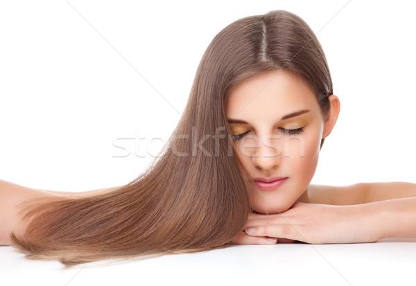 Mooie brunette lang steil haar jonge mode Stockfoto © tommyandone