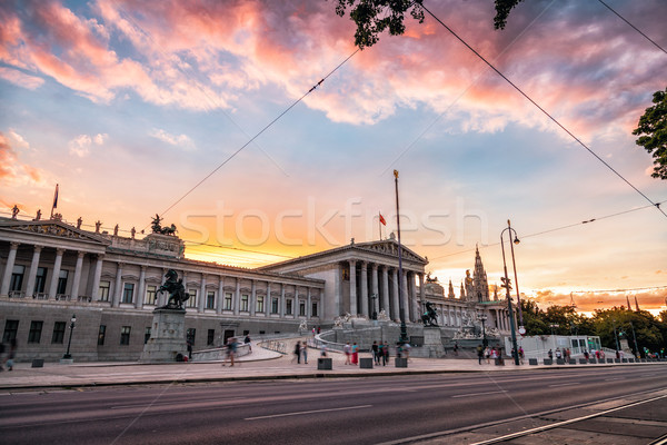 Austrian Parliament building on Ring Road in Vienna Stock photo © tommyandone