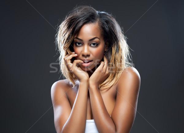 Stock fotó: Fiatal · fekete · szépség · tökéletes · bőr · portré