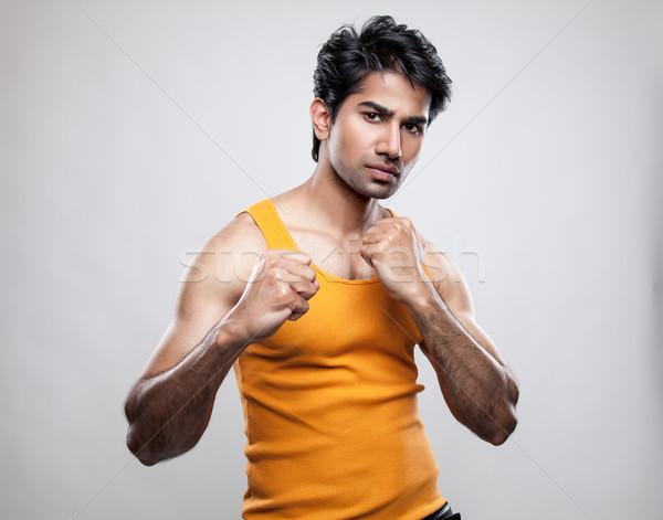 индийской человека подготовленный борьбе красивый тело Сток-фото © tommyandone