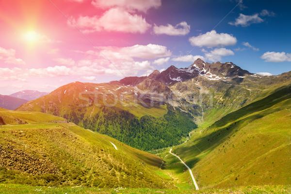 Colorato alpino scenario sole giù panorama Foto d'archivio © tommyandone