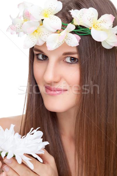 Belo morena longo cabelos lisos jovem natureza Foto stock © tommyandone