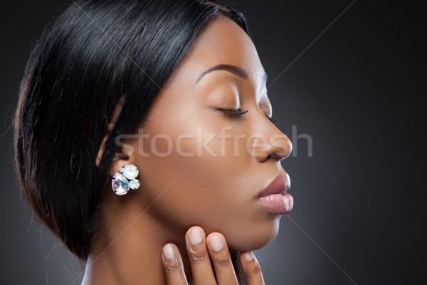 Profiel jonge zwarte schoonheid perfect huid Stockfoto © tommyandone