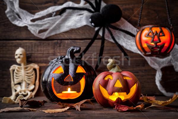 Tradycyjny scary halloween wakacje ognia Zdjęcia stock © tommyandone