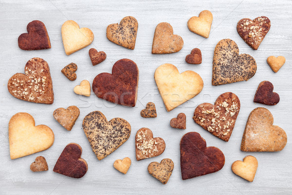 любви разнообразие сердце Cookies серый деревенский Сток-фото © tommyandone