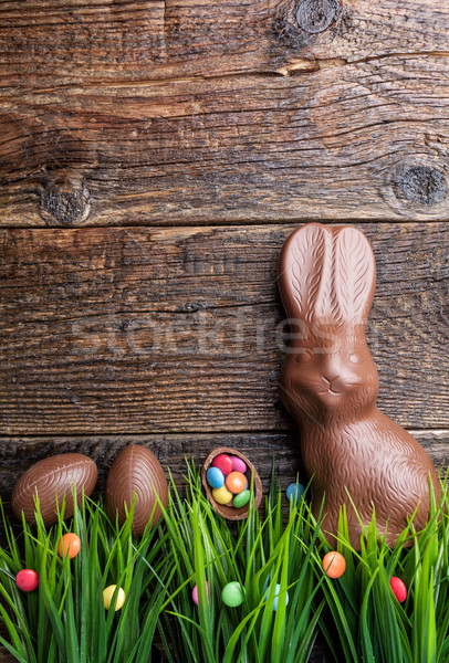 çikolata easter bunny yumurta şekerleme rustik lezzetli Stok fotoğraf © tommyandone