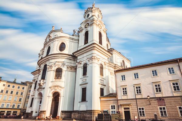 Stock fotó: óváros · Ausztria · égbolt · templom · utazás · kastély