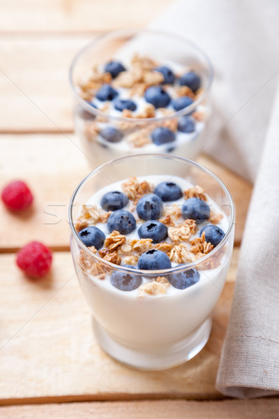 Nutriente sani yogurt mirtilli cereali bio Foto d'archivio © tommyandone