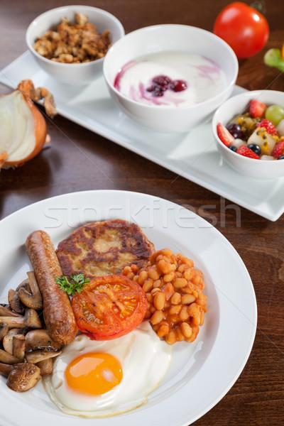 Inglés vegetariano desayuno granola yogurt alimentos Foto stock © tommyandone