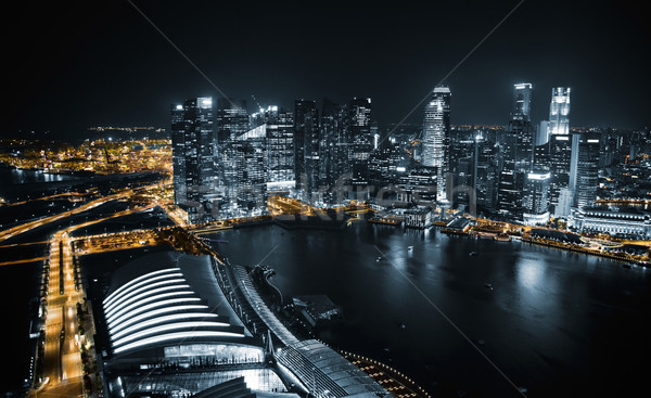 Aerial view of Singapore at night Stock photo © tommyandone