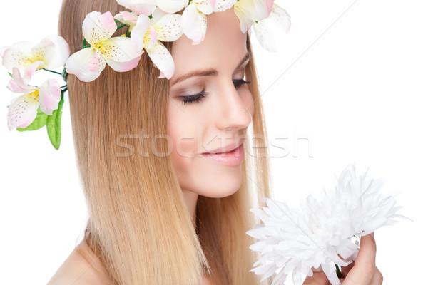 美人 ストレートヘア 花 美しい 女性 ストックフォト © tommyandone