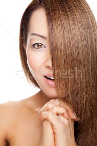 Mooie vrouw lang elegante steil haar mooie jonge Stockfoto © tommyandone