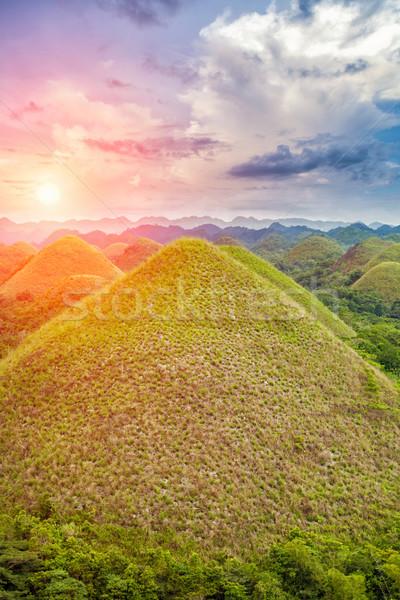 Stockfoto: Mooie · chocolade · heuvels · Filippijnen · landschap · boom