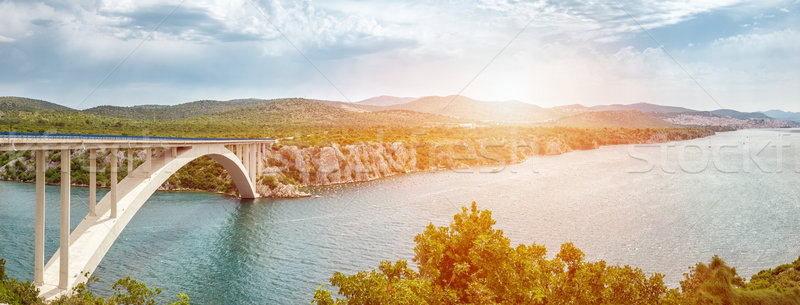 Scenic view of a bridge leading to an old town of Sibenik in Croatia Stock photo © tommyandone