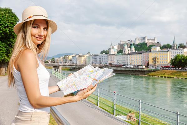 Foto stock: Feminino · turista · férias · Áustria · local