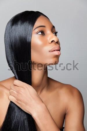 профиль молодые черный красоту прямые волосы долго Сток-фото © tommyandone