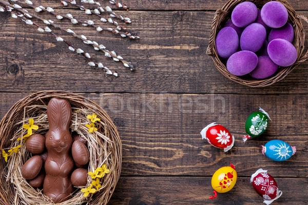 Stockfoto: Paaseieren · houten · traditioneel · voorjaar · konijn · achtergrond