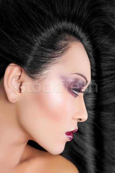 Piękna kobieta długo elegancki proste włosy piękna młodych Zdjęcia stock © tommyandone