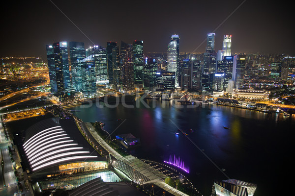 Singapore business centre at night Stock photo © tommyandone