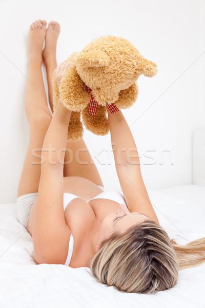 Boldog terhes nő tart plüssmaci felfelé nő Stock fotó © tommyandone