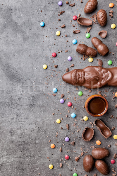 Delicious Christmas chocolate and sweets on rustic background Stock photo © tommyandone