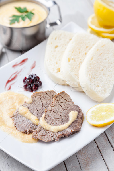 Traditional Czech and Slovak sirloin with cream sauce and dumplings Stock photo © tommyandone
