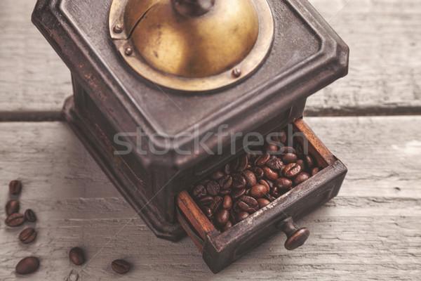 ヴィンテージ コーヒー ブレンダー 木製のテーブル 木材 金属 ストックフォト © tommyandone