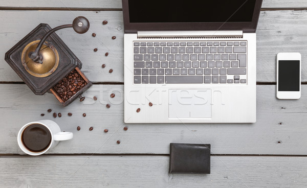 Workspace on a wooden table from above Stock photo © tommyandone