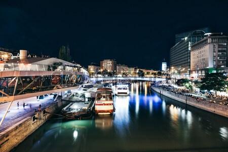 Schwedenplatz in Vienna Austria at night Stock photo © tommyandone